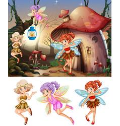 Set fairies in wood scene vector