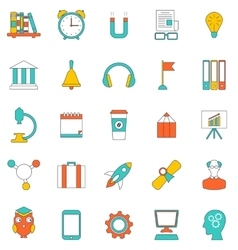 Set Flat Line Icons of School Equipment and Tools vector