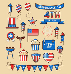 set icons for independence day vector image