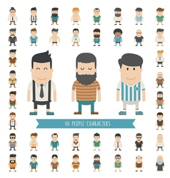 Set of 40 people characters vector image