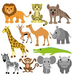 set of cheerful animals vector image