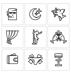 Set of Strip Club Icons Security Night vector image