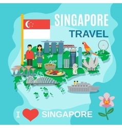 Singapore Travel National Symbols Poster vector