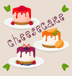 slice cheesecake lies on white plate vector image
