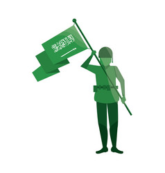 Soldier with flag saudi arabia vector