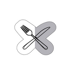 sticker figure knife and fork icon vector image