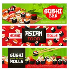 sushi bar menu sashimi and maki rolls vector image