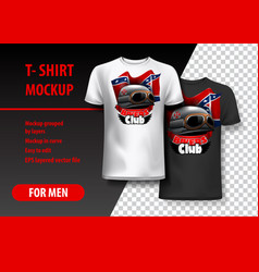 T-shirt template fully editable with bikers club vector