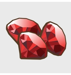Three stone ruby closeup vector image