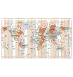 time zone map detailed world map with countries vector image