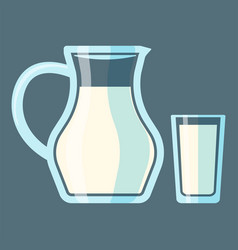 Traditional old fashioned glass milk jug bottle vector