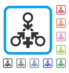 triple penetration sex framed icon vector image