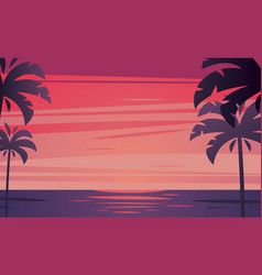 Tropical sunrise with silhouette of palm trees vector