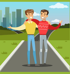 Two best male friends walking on city street vector