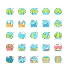 urban village landscapes flat icon set vector image