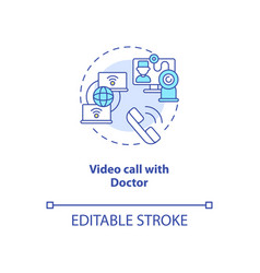 Video call with doctor concept icon vector