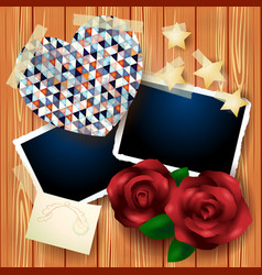 vintage background with heart and roses vector image