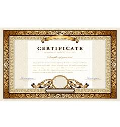 Vintage gold certificate vector