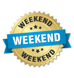 weekend round isolated gold badge vector image