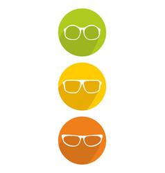 white glasses icon set isolated on background vector image