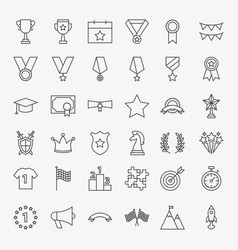 Winning award line icons set vector