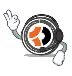 With headphone bitcoin dark mascot cartoon vector