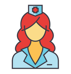 Woman doctor nurse medical team concept line vector