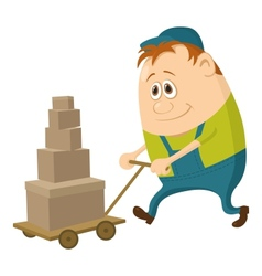 Worker with hand cart vector