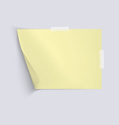 yellow sheet of paper on light gray background vector image