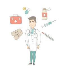 young caucasian confident doctor vector image