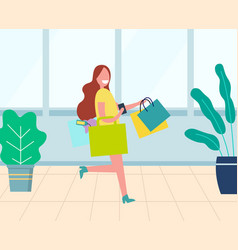 young smiling woman with colorful bags in store vector image