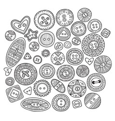 a large set of cloth buttons in different boho vector image