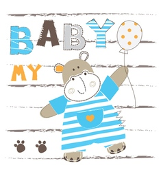 Baby background with cute little hippo vector image vector image