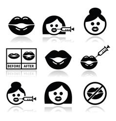 Big lips lip augmentation icons - beauty concept vector image vector image