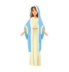 cartoon cute virgin mary character nativity design vector image vector image