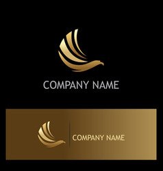 eagle fly wing gold logo vector image vector image