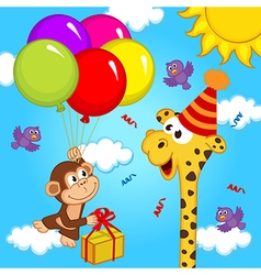 giraffe celebrating birthday vector image