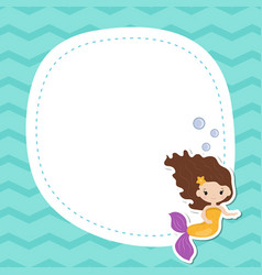 greeting card withcute girl mermaid greeting card vector image vector image