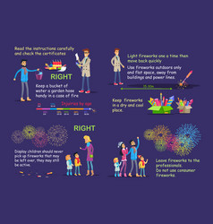 picture instruction for right firework usage vector image vector image