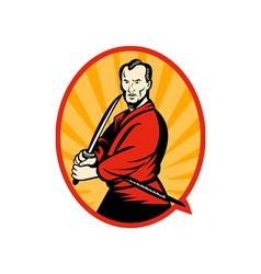 Samurai warrior with katana sword vector image vector image