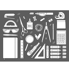 Stationery tools icons set Contour vector image