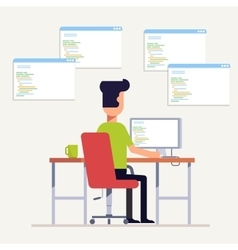 The programmer writes code on the computer Multi vector image