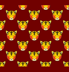 tiger seamless on dark red background vector image