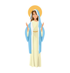 cartoon cute virgin mary character nativity design vector image vector image