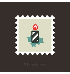 Christmas candle flat stamp vector image