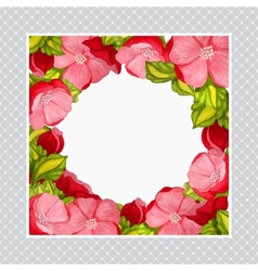 Greeting card with watercolor frame of pink peony vector image vector image