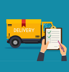 hand holding clipboard with delivery tracking vector image vector image