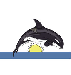 killer whale continuous line vector image vector image