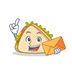 sandwich character cartoon style with envelope vector image