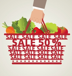 Shopping Basket and Vegetable vector image vector image
